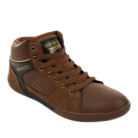 Brown men's lace-up sneakers 15M749 1