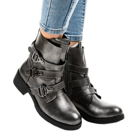 Gray women's boots with HQ1588 buckles grey 1