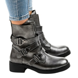 Gray women's boots with HQ1588 buckles grey 2