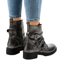 Gray women's boots with HQ1588 buckles grey 3
