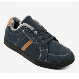 Dark blue men's sneakers with fur E756M-2 navy 1