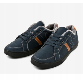 Dark blue men's sneakers with fur E756M-2 navy 2