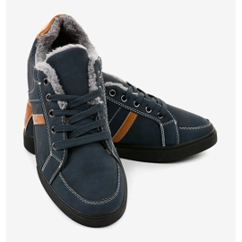Dark blue men's sneakers with fur E756M-2 navy 3