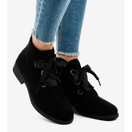 Black suede lace-up boots K123 1