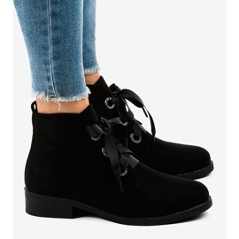 Black suede lace-up boots K123 2