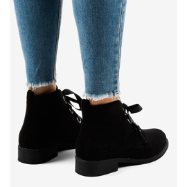 Black suede lace-up boots K123 3