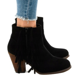 Black suede boho boots on a post FY8333 2