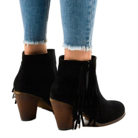 Black suede boho boots on a post FY8333 3