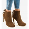 Brown ankle boots with LBS2551 suede heel picture 1