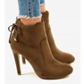 Brown ankle boots with LBS2551 suede heel picture 2