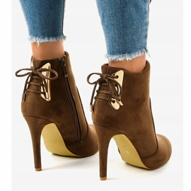 Brown ankle boots with LBS2551 suede heel 3