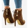 Brown ankle boots with LBS2551 suede heel picture 3