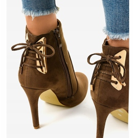 Brown ankle boots with LBS2551 suede heel 4