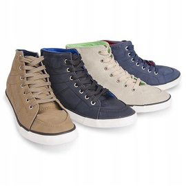 High Casual Sneakers 033 Navy Blue 1