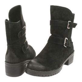 Black Suede leather boots Daszyński 161 4