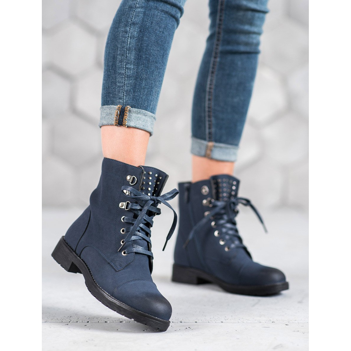 S. BARSKI Navy Blue Lace-up ankle boots