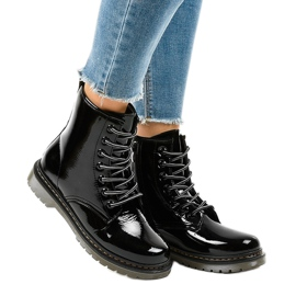 Black patent leather boots TL142-1 1