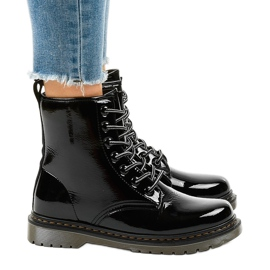 Black patent leather boots TL142-1 2