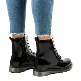 Black patent leather boots TL142-1 3