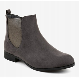 Gray suede flat boots with elastic 100-917BO grey 1