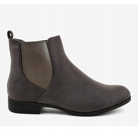 Gray suede flat boots with elastic 100-917BO grey 2