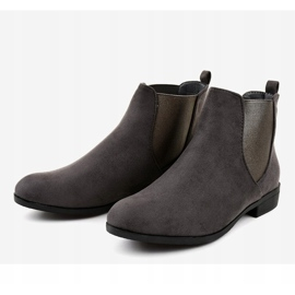 Gray suede flat boots with elastic 100-917BO grey 3