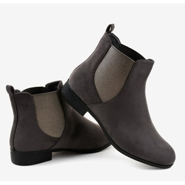 Gray suede flat boots with elastic 100-917BO grey 4