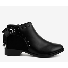 Black flat women's boots with a ribbon Y8162 2