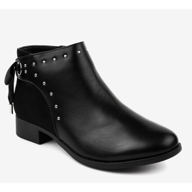 Black flat women's boots with a ribbon Y8162 1