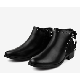 Black flat women's boots with a ribbon Y8162 3