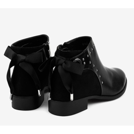 Black flat women's boots with a ribbon Y8162 4