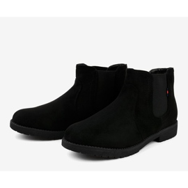 Black flat women's boots with an elastic Y206 4