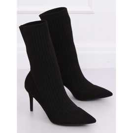 Boots with a sock upper black T5033 Black 3