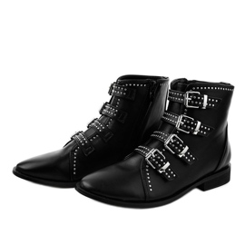 Women's black flat boots with buckles 100-915 2