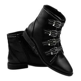 Women's black flat boots with buckles 100-915 3