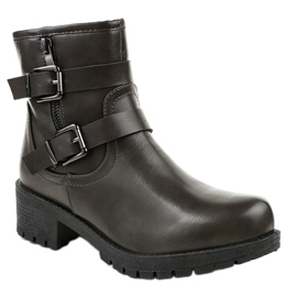 Gray boots with buckles 9996-5 grey 1