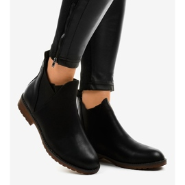 Black flat ankle boots with an elastic W360 2