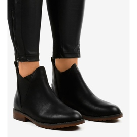 Black flat ankle boots with an elastic W360 1
