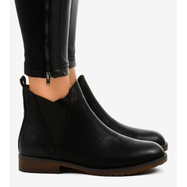 Black flat ankle boots with an elastic W360 3