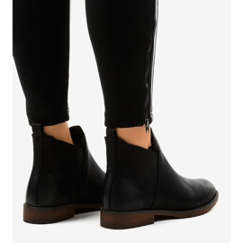 Black flat ankle boots with an elastic W360 4
