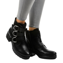Women's black flat boots with buckles BZ66010 1