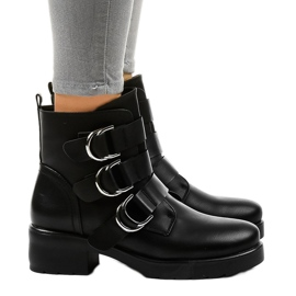 Women's black flat boots with buckles BZ66010 2