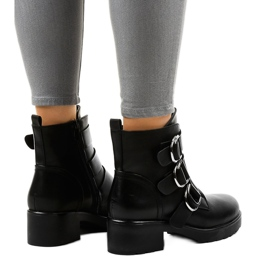 Women's black flat boots with buckles BZ66010 3