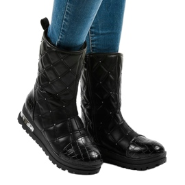 Ladies' black flat ankle boots with studs B9016-1 1