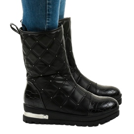 Ladies' black flat ankle boots with studs B9016-1 2