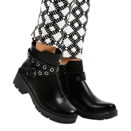 Black flat-heeled ankle boots with a 9996-2 buckle 1