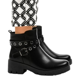 Black flat-heeled ankle boots with a 9996-2 buckle 2