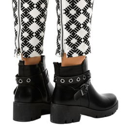 Black flat-heeled ankle boots with a 9996-2 buckle 3