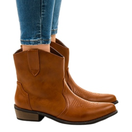Camel ankle boots for women 928-1 flat cowboy boots brown 1