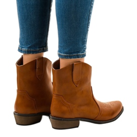 Camel ankle boots for women 928-1 flat cowboy boots brown 2